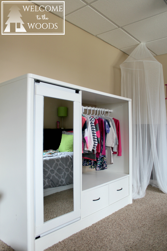 Little girl's closet from entertainment center
