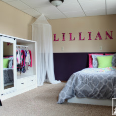 Adorable girls bedroom design in hot pink, lime green, and neutrals.