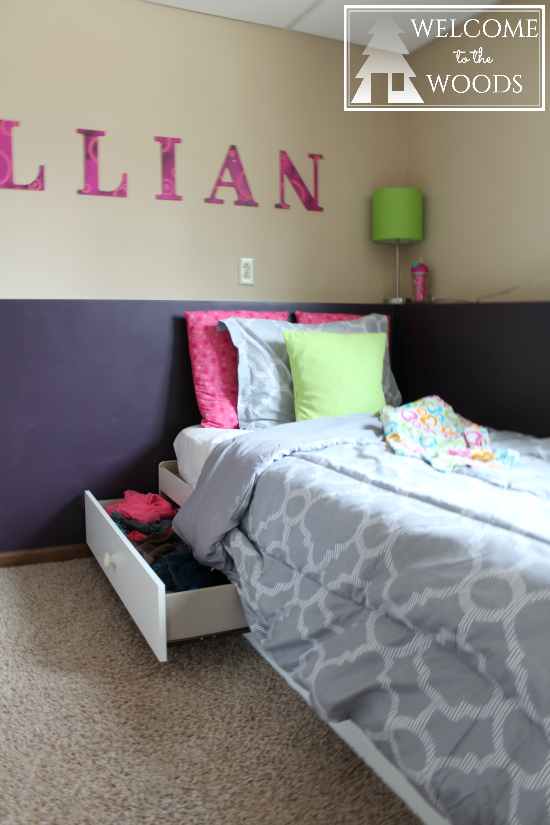 White twin captains bed with storage underneath
