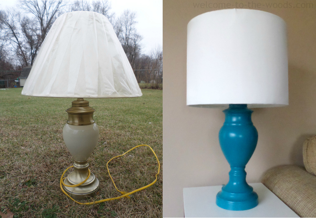 Diy lamp shade base welcome to the woods amazing before and after lamp makeover this takes you to an amazingly detailed photo tutorial aloadofball