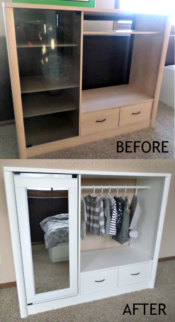 Entertainment Center to Closet Makeover! I love this transformation of furniture one doesn't use anymore to something adorable and useful!