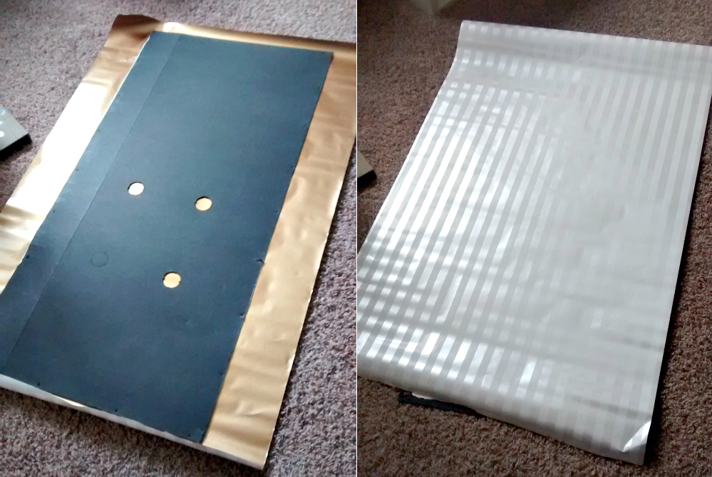 Cover the backing of your entertainment center or bookshelf with wrapping paper to make it better!