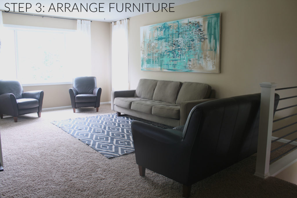 Step 3 in designing a room is placing furniture. Your wall decor and furniture should be arranged to compliment and balance each other.
