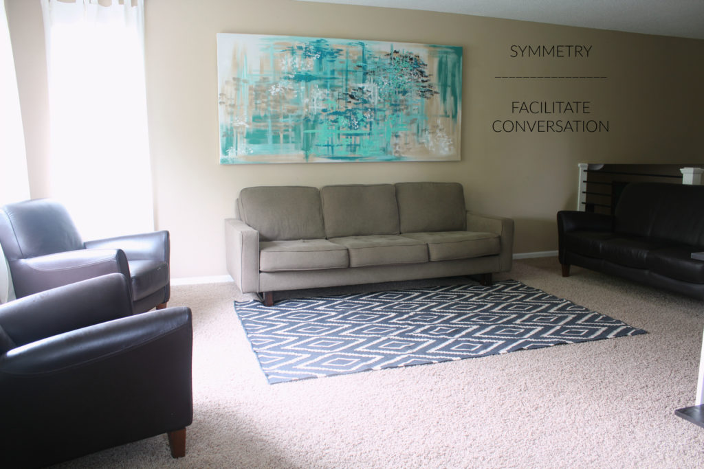Ideas for placing furniture to facilitate conversation and be visually attractive.