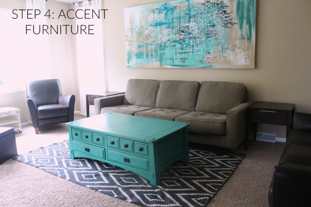 Step 4 in designing a room is adding accent furniture to increase functionality and comfort in the room.