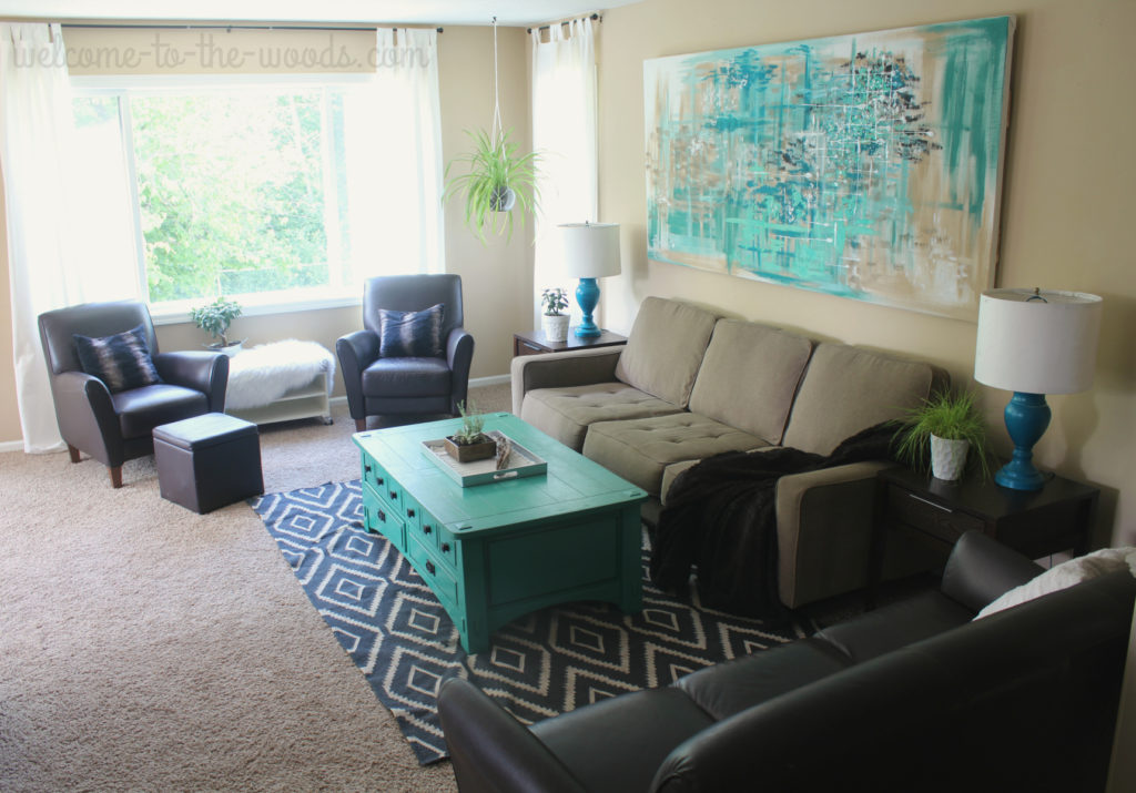 This living room design was put together showing step-by-step photos starting from a blank space.