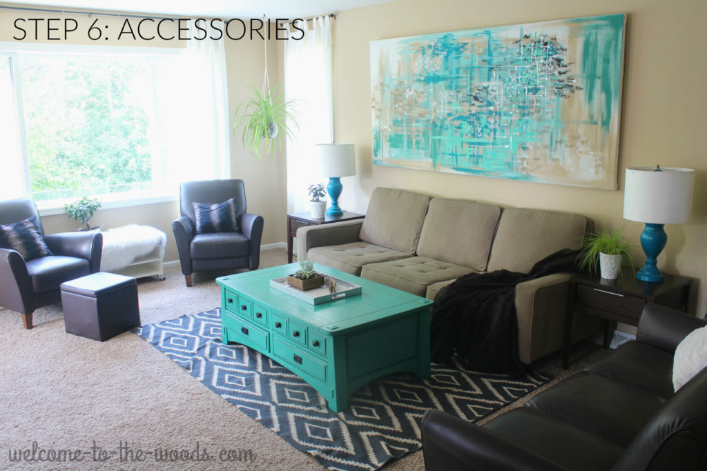 Step 6 in designing a room includes accessorizing with lamps, throw pillows, home decor pieces, textiles, and more.