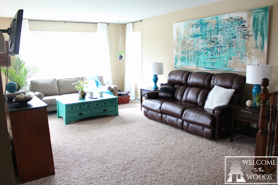 Living Room Makeover With Gorgeous Large Wall Painting Bright Turquoise And Teal Accents Mismatched