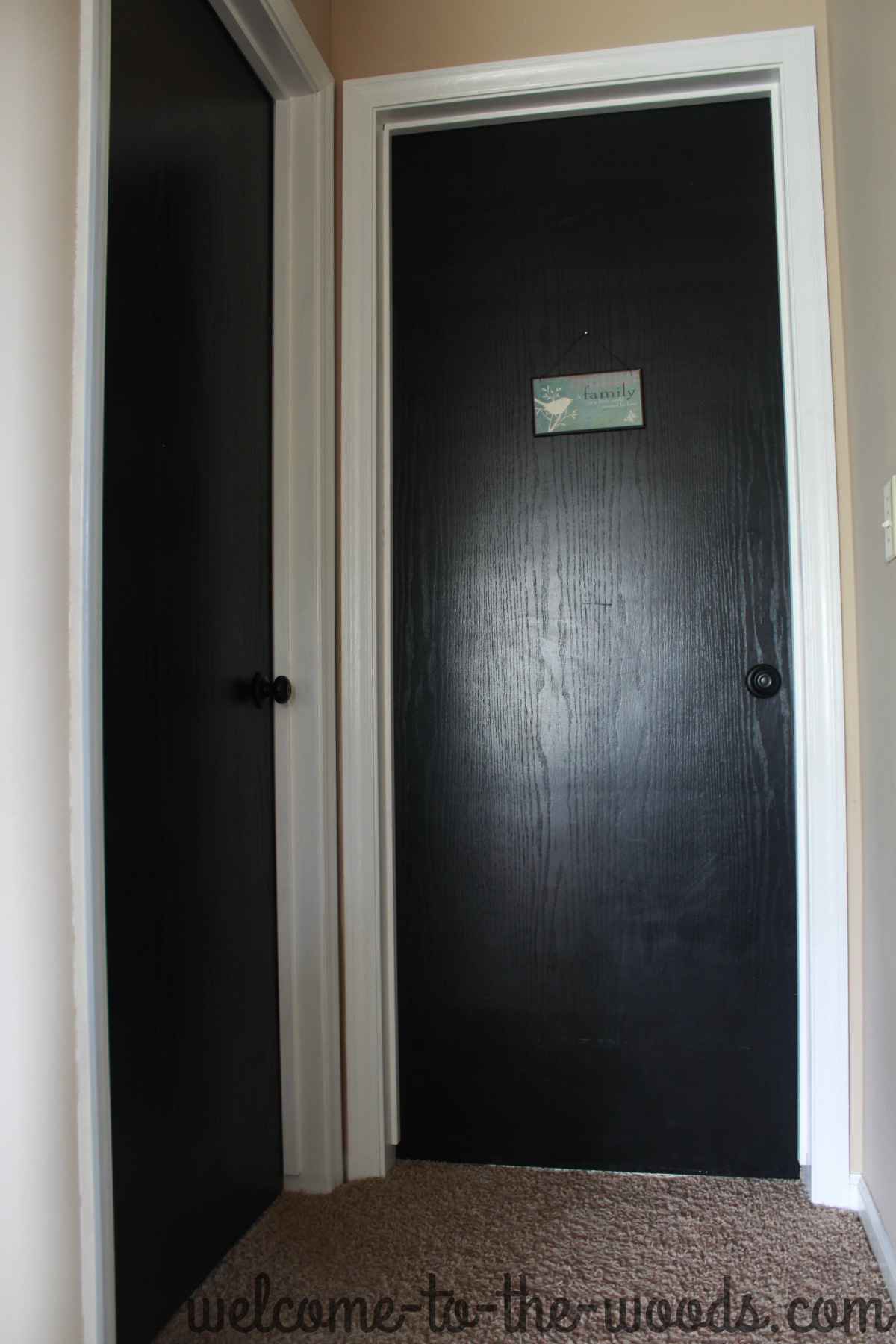 Hallway makeover white trim reveal welcome to the woods for Modern door trim