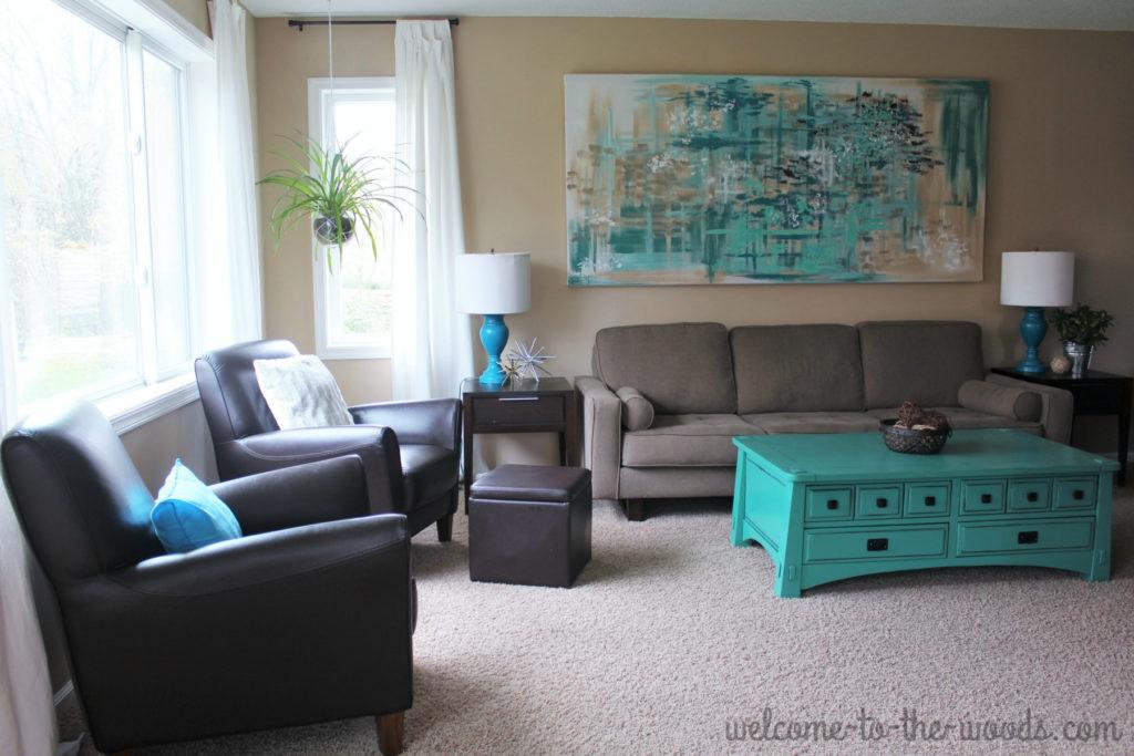 Teal and gray living room design, modern decor