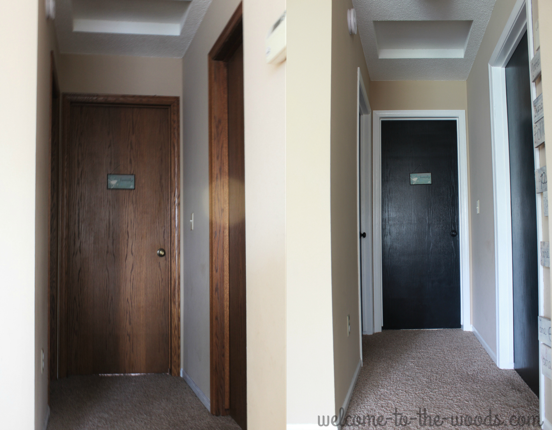 Hallway Makeover By Painting White Trim And Black Doors So Much Brighter Than Outdated Oak