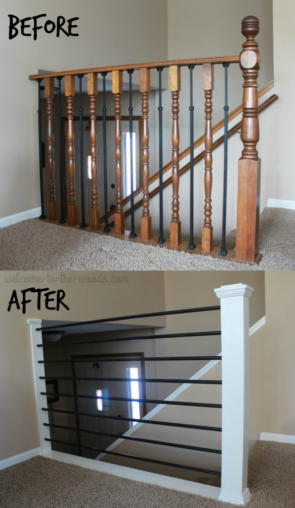 Stair Railing DIY Makeover. This Baluster Went From Old, Outdated Oak To  Sleek Metal