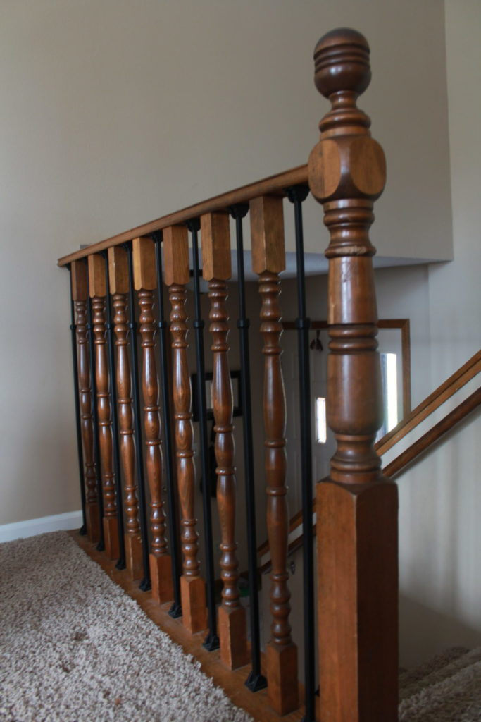Old, Outdated DIY Stair Railing Makeover