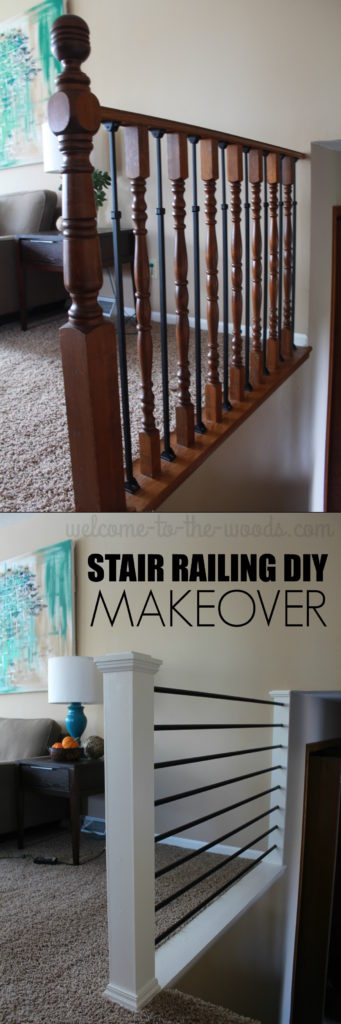 Before And After Stair Railing Diy Makeover This Mommy Blogger Transformed An Outdated Oak Baer
