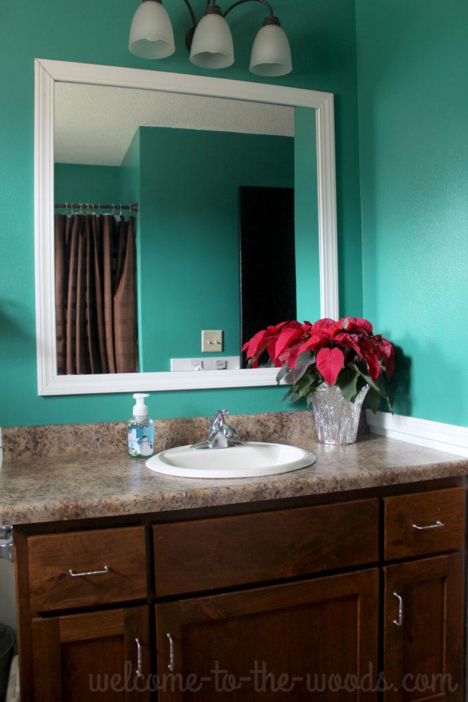 Bathroom Christmas decor, poinsettia on the counter.