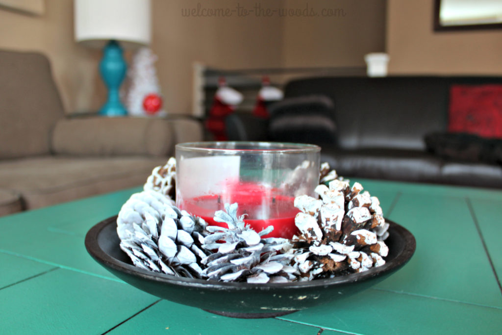 Spray paint pine cones white and use them in a bowl or as vase filler for winter Christmas or holiday decorations in your home!