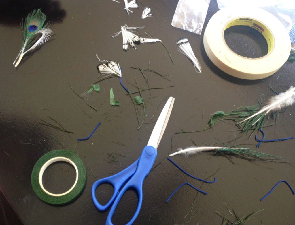 Photo tutorial for creating feather boutonnieres.