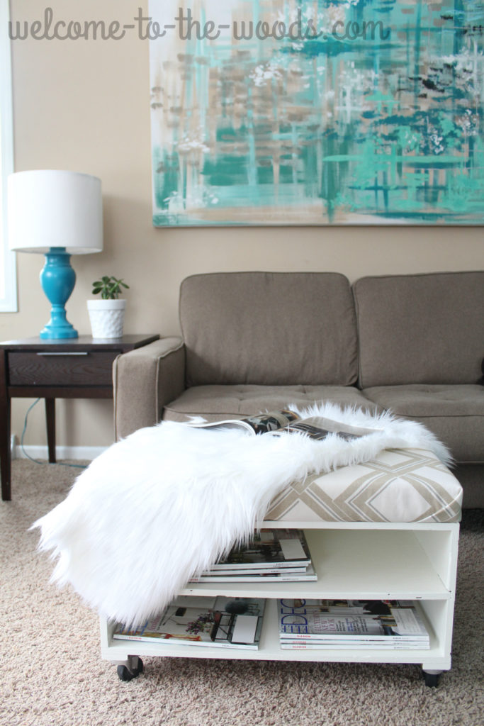 Great idea for living room furniture! This ottoman makeover allows the piece to do double duty as storage, an comfy place for your feet, and extra seating as a bench!