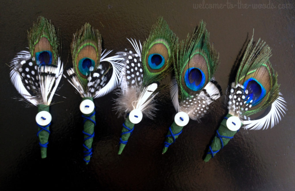 This feather boutonniere craft is a brilliant alternative to expensive flowers at your wedding.