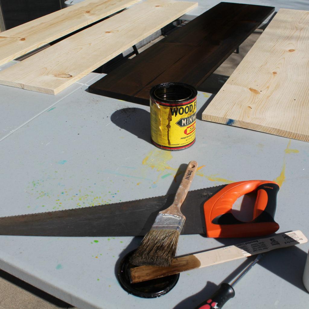 Staining lumber with Minwax to make bookshelves