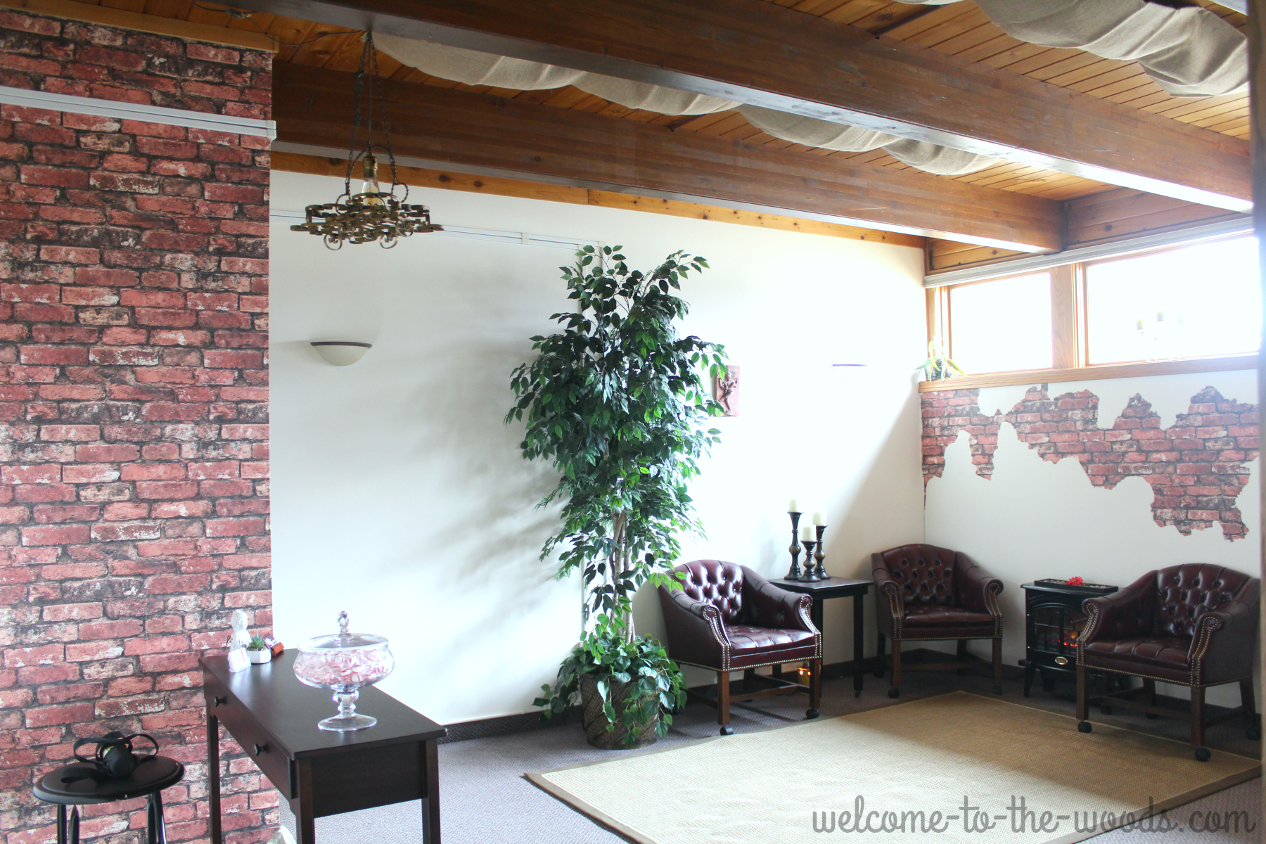 Faux Brick And Plaster Wall Welcome To The Woods