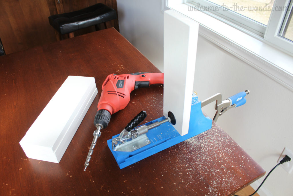 Kreg Jig tool used to drill 45 degree angle screws and build strong joints.