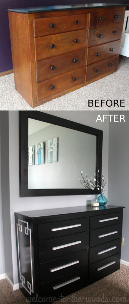 Love this before and after furniture makeover! This outdated dresser had clean lines and was made to be something super modern and stylish with overlays and some paint.