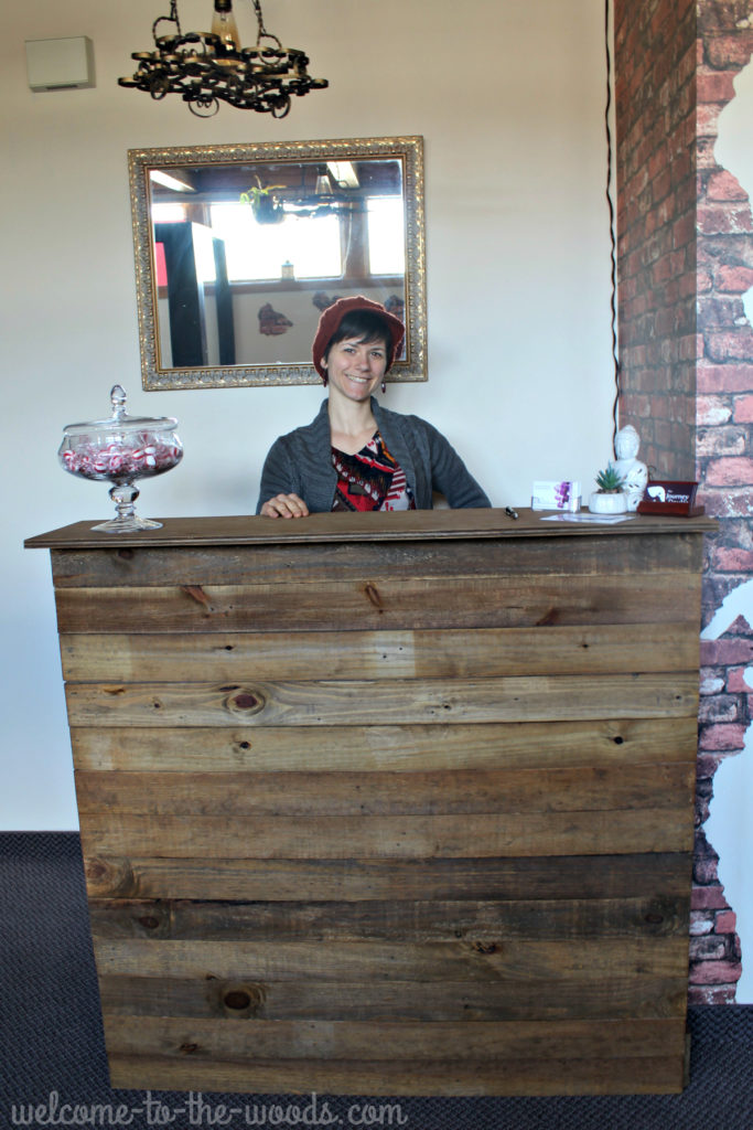 Reclaimed Barn Wood Reception Desk Redo Welcome To The Woods