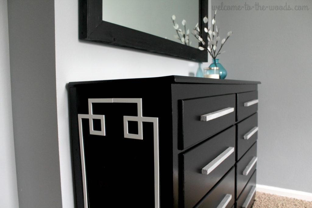 A modern black dresser furniture flip transformation. Love this redo!