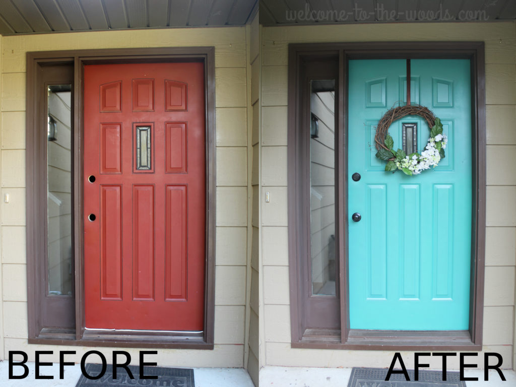 Front door refresh, turquoise paint before and after transformation cheerful color