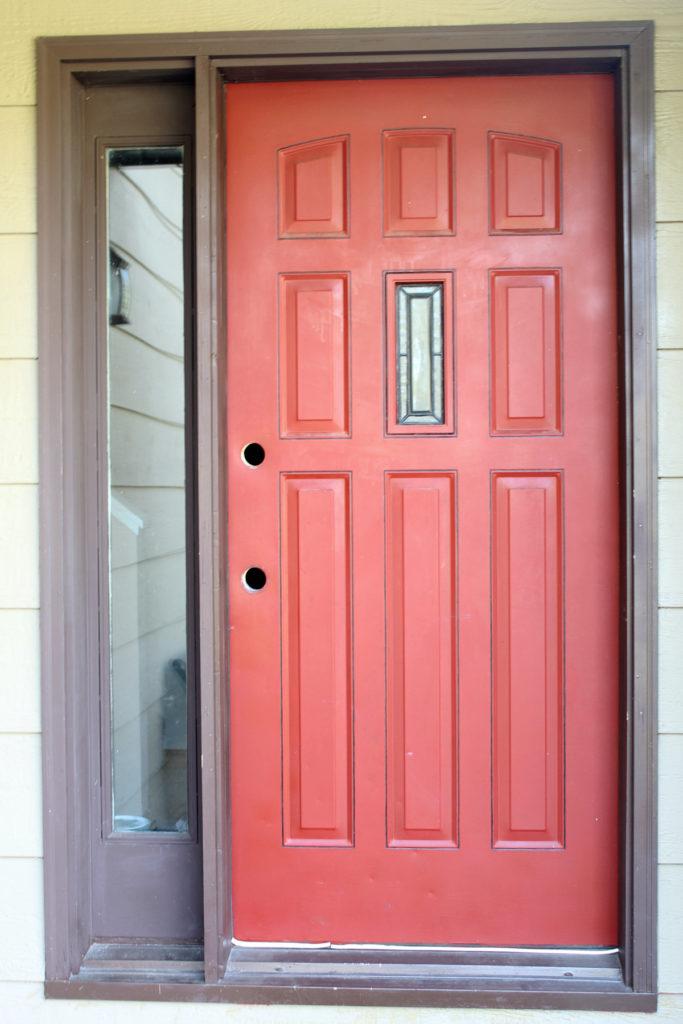Red Front entry door