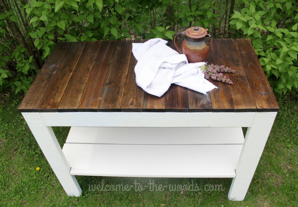 Farmhouse table custom handbuilt piece of furniture.