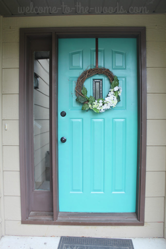 Front door refresh paint it turquoise entryway makeover for What kind of paint do you use on interior doors