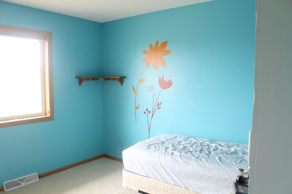 Little girls room blue walls floral painting