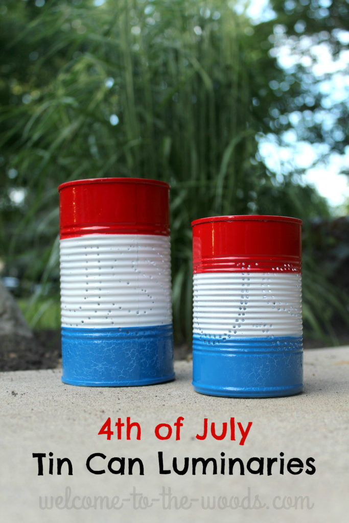 Make tin can luminaries for your Independence Day party this year, they will be a hit!