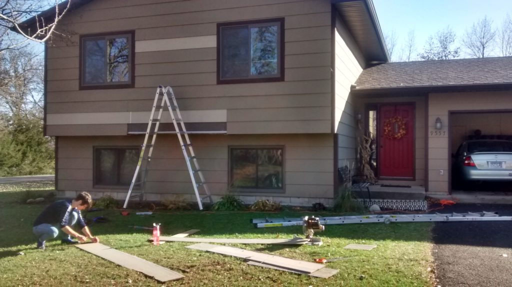 Replacing siding on front of our house was easier than we thought and saved us the expense of residing the whole thing!