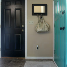 Painting your interior entryway doors a color different than the trim is a fun way to add interest to a small space.