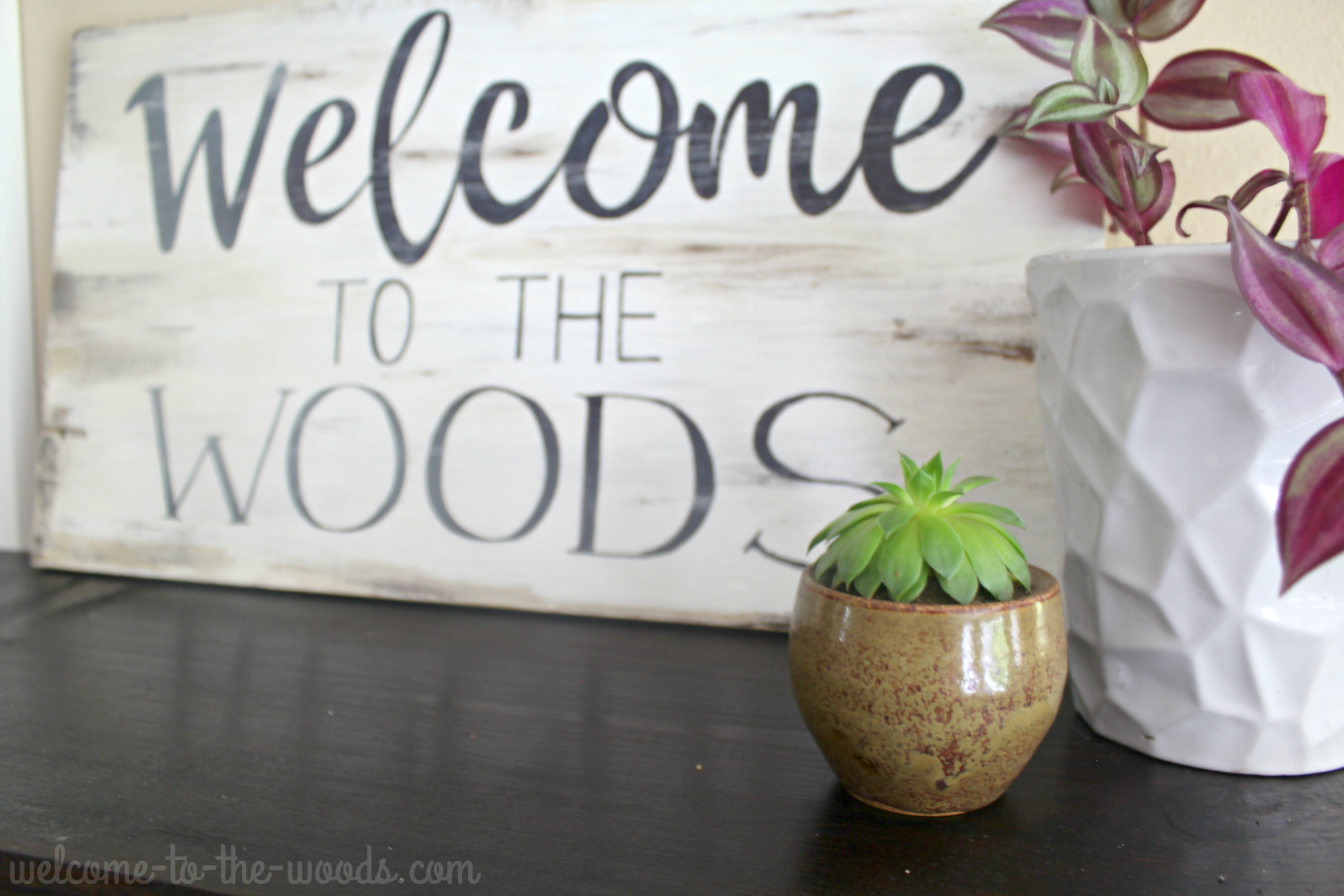 Distressed Wood Sign DIY Tutorial - Welcome to the Woods