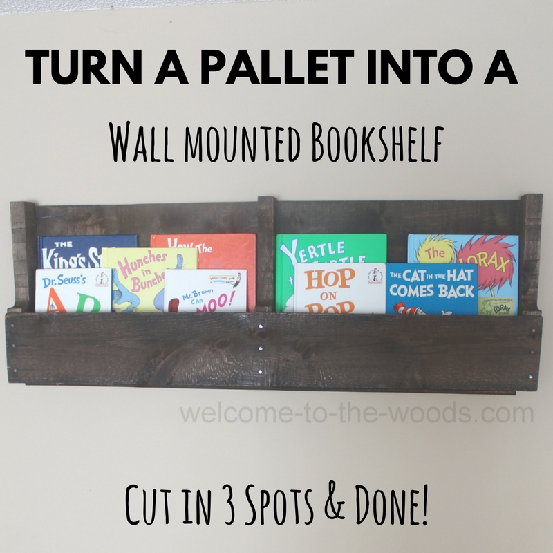 Store books in your pallet wood bookshelf facing front so the pictures and titles are more visible for your kids.