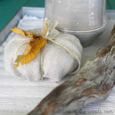 Simple fall craft idea - use leftover fabric and twine to make a pumpkin as decor