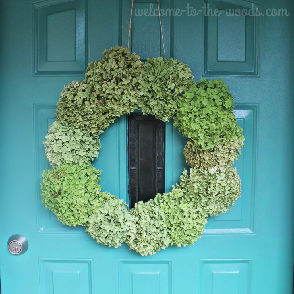 The easiest way to create a green hydrangea fall wreath for your front door!