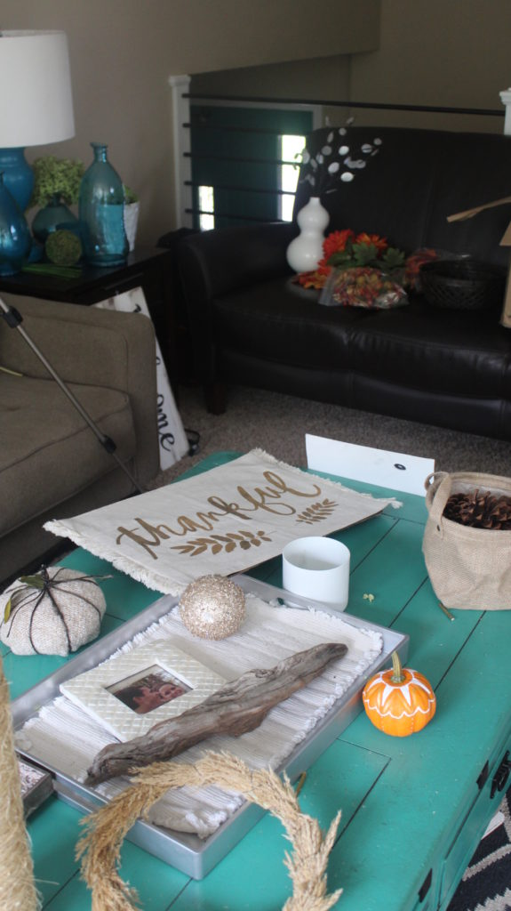 Living room mess when decorating for autumn decor