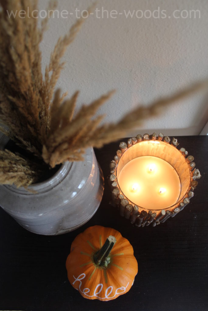 Fall shelf home decor, make candle say autumn by hot gluing sticks to the outside of the jar.
