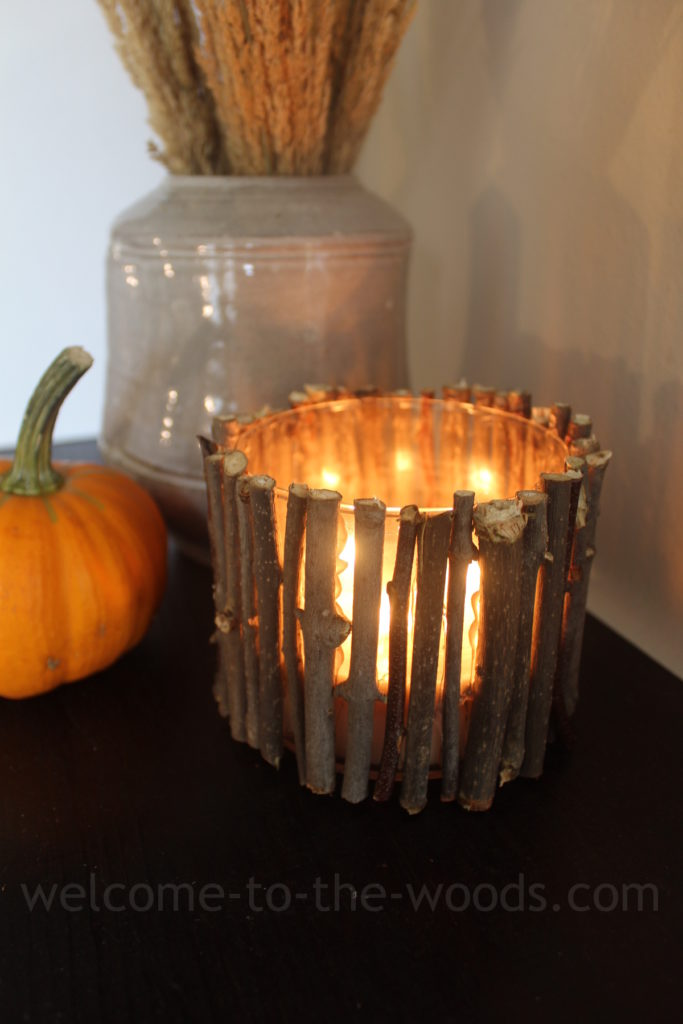 Candle with outdoor sticks hot glued to the outside of the glass jar. Cute craft!