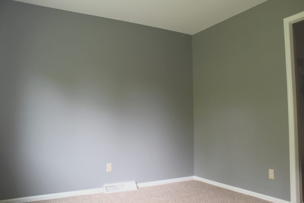 White trim gray wall color for office makeover