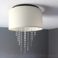 Modern drum lamp shade turned crystal chandelier! I love this diy project!
