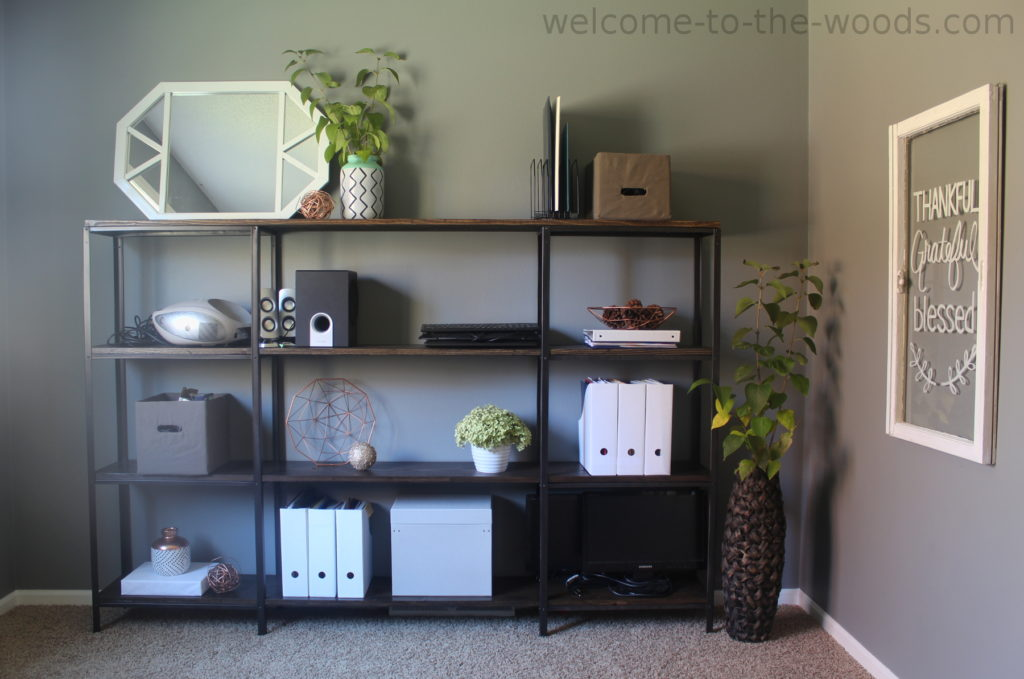 Beautiful industrial modern open shelving in office space. Love the design - REPIN and share!