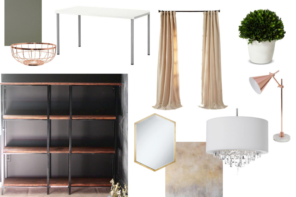 Mood board for a calming, copper accented office makeover ORC