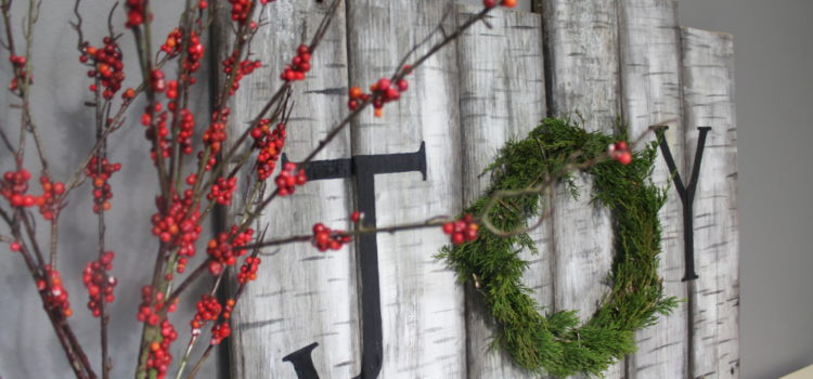 Birch Wood Sign Holiday Decor With Real Juniper Wreath