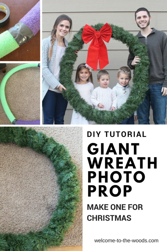 DIY tutorial make a GIANT wreath Christmas photo prop this season for family pictures.